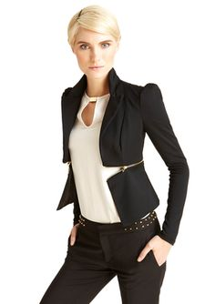 CASUAL COUTURE Ruched Shoulder Blazer  zip off jacket idea