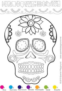 Easy Spanish color-by-number activity for Día de los Muertos. Great to use with kids learning Spanish for Day of the Dead. Practice Spanish vocabulary for parts of the face, colors in Spanish and numbers in Spanish.  http://spanishplayground.net/spanish-color-by-number-easy-picture-dia-de-los-muertos/