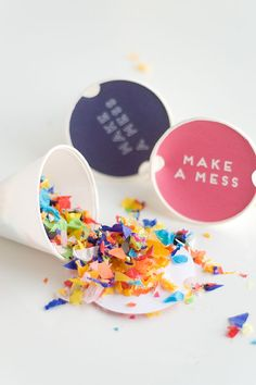 Make A Mess | DIY Confetti Tossers with Free Printable