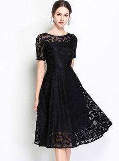 Elegant Embroidery High Waist A Line Dress – DressSure Women's Dresses, Elegant Dresses, Pretty Dresses, Dress Outfits, Fashion Dresses, Skater Dresses, Dresses Online, Dance Dresses, Homecoming Dresses