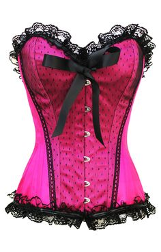 Hot Damn! Fuchsia pink pin-up inspired corset with steel bones. High Quality materials including steel bones and strong cord lacing.    The Violet Vixen - Pinup Doll Hot Pink Corset, $72.00 (http://thevioletvixen.com/corsets/sassy-satin-seductress-hot-pink-corset/)