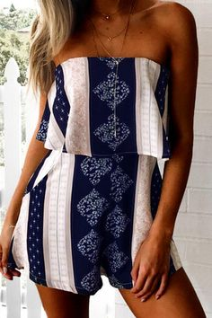 US$17.95 -YOINS Featuring random floral print, off the shoulder, layered design. Style it with high heels or sandals is great.