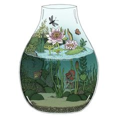 'Waterlilies' is a limited edition giclée print of an original artwork by Annie Davidson (Melbourne, VIC). Art Inspo, Kunst Inspo, Art And Illustration, Fantasy Kunst, Fantasy Art, Pretty Art, Cute Art, Bel Art, Art Mignon