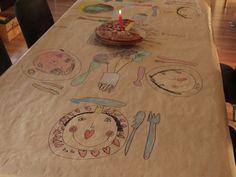 sweet table cloth! via Trula:Kids