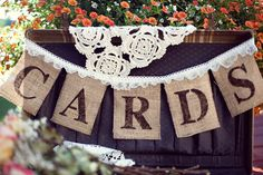 Burlap Banner - Cards Banner - Wedding Banners - Rustic - Shabby Chic - Burlap and Lace - Anthropologie Wedding Decor