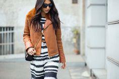 Striped matching set and black mini crossbody bag // MFW street style