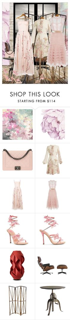 """Spring is just another rain drop away"" by matadoraa ❤ liked on Polyvore featuring Chanel, Giambattista Valli, ADAM, J. Mendel, Prada, LZF, Vitra and Andrew Martin"