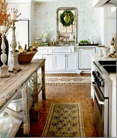 Kitchen in manor home is Sweden; love the island