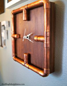 Copper Home Accessories Ideas - Industrial Copper Pipe Clock. Copper Home Accessories Ideas - Industrial Copper Pipe Clock. Copper Home Accessories, Home Decor Accessories, Black And Gold Bathroom, Wooden Painting, Unusual Clocks, Copper Gifts, At Home Furniture Store, Purple Home, Diy Clock