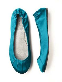 Satin wedding flats in 18 colors to match your bridesmaids' dresses.