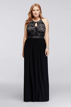 The perfect classic evening dress that features a floral glitter lace bodice with an alluring nude under lay and keyhole halter neckline! By Nightway Jersey Back zipper; fully lined Mach Plus Size Formal Dresses, Evening Dresses Plus Size, Evening Gowns, Bridesmaid Dresses Plus Size, Bridesmaids, Necklines For Dresses, Maxi Dresses, Quince Dresses, Event Dresses