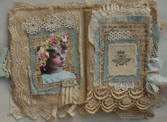 Mixed Media Fabric Collage Book of French Inspired Vintage Girls | eBay