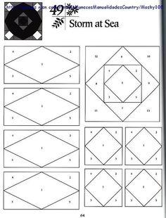 Storm at Sea paper piecing pattern.  拼布图样 - 草知春 - Picasa Web Albums