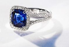 Platinum, sapphire and halo diamond engagement ring by Omi Privé #igorman #omiprive