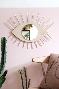 Wood + rounded mirror
