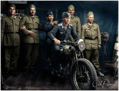 Four Romanian soldiers pose with two of their German allies, both whom are part of a Luftwaffe Flak division. They joke around, taking a humorous photograph of themselves sitting on the Romanian motorcycle. Luftwaffe, Army Vehicles, German Army, European History, Historical Pictures, Armed Forces, World War Two, Wwii, The Twenties