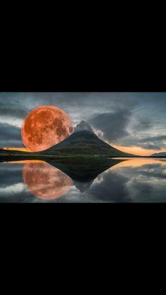 Blood Moon from Kurkjufell Mountain Iceland.
