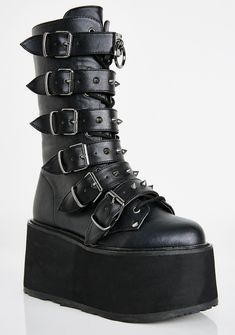 Free, fast shipping on Violation Knee High Boots at Dolls Kill, an online boutique for punk rock fashion. Shop Current Mood grunge clothing, lace up leggings, & platform shoes here. Pretty Shoes, Cute Shoes, Me Too Shoes, Beverly Heels, Goth Boots, Fuzzy Boots, Vegan Boots, Fringe Boots, Buckle Boots