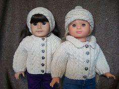18-034-Doll-Knitting-Pattern-American-Girl-Aran-Raglan-Sweater-Hat-Headband