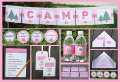 Girl Scout Campout here we come, in style of course!    pink camping Invitation & Birthday Party Decorations