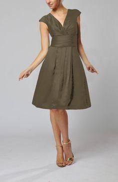 Pewter Modest V-neck Short Sleeve Backless Taffeta Knee Length Wedding Guest Dresses