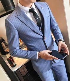 Mens Business Suits Blue Stripe Suits Mens Formal Blue Tuxedo Social Suits Mens Casacas Hombre Azul Terno Preto Slim Fit