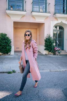 Gal Meets Glam Dusty Rose Coat - Theory coat, Jenni Kayne top, Frame denim, Paul Andrew shoes, Mark Cross bag & Ray Ban sunglasses