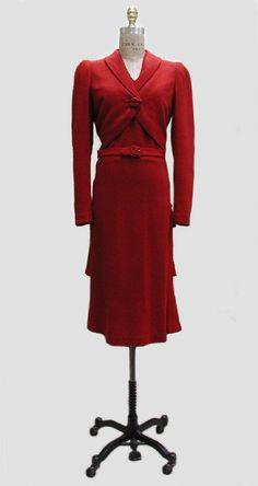 1939 wool Dress by Henri Bendel, American.