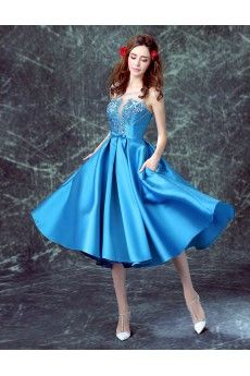 Satin, Organza Scoop Tea-Length Sleeveless A-line Dress with Embroidered, Bow
