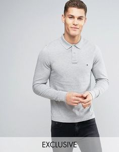 Tommy Hilfiger Long Sleeve Polo Pique Slim Fit Flag Logo in Gray Heath