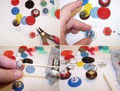 Recicla los botones y conviertelos en anillos para niñas