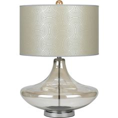 """SKINNY DIP table lamp by Candice Olson for AF Lighting.  Tone on tone drum shade on pearl glass base. 26.5""""H 18""""W 18""""D #candiceolson #aflighting"""