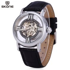 SKONE 80057 Women Hollow Mechanical Watch with Genuine Leather Band #>=#>=#>=#>=#> Click on the pin to check out discount price, color, size, shipping, etc. Save and like it!