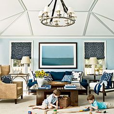 The photo of the ocean makes you think it's a window with a view. Ponte Vedra Beach Home Makeover | Idea