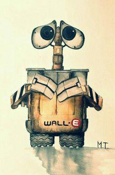 Drawing - wall e Disney Pixar, Disney And Dreamworks, Disney Cartoons, Disney Animation, Disney Magic, Walt Disney, Disney Artwork, Disney Drawings, Cute Drawings