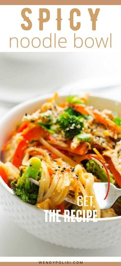 I have a soft spot for pasta, and it doesn't get much better than this Spicy Noodle Bowl. It is an easy weeknight meal that you will crave again and again. Crisp-tender veggies and juicy chicken are topped in a spicy Sriracha peanut sauce to create a flavor-packed dish that comes together in just 20 minutes. Gluten Free Recipes For Breakfast, Healthy Gluten Free Recipes, Gluten Free Dinner, Healthy Pasta Recipes, Healthy Pastas, Cooking Recipes, Spicy Chicken Noodles, Asian Noodle Recipes, Going Vegetarian