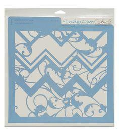 Rebecca Baer 11.75''x11.75'' Stencil-Chevron & Vine
