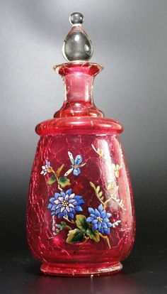 Moser Enameled Dragonfly Art Nouveau Cranberry Crackle Glass Perfume Bottle.