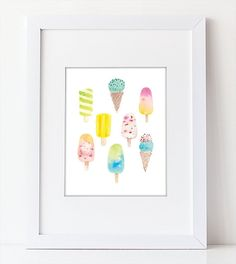 Ice Cream Art  Watercolor Art Print  Food Art by WatercolorPaperie