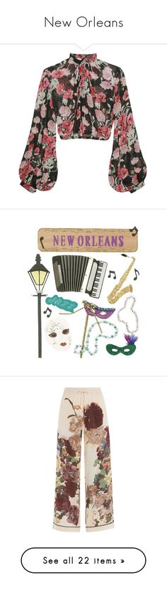 """New Orleans"" by starrybell ❤ liked on Polyvore featuring tops, blouses, blouson blouse, long-sleeve crop tops, floral crop top, crop blouse, transparent blouse, pants, bottoms and trousers"