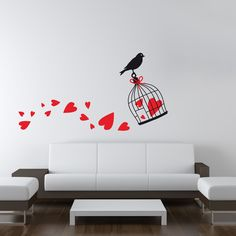 """Wallsticker """"Birdcage with hearts"""" http://ow.ly/IIQVX"""