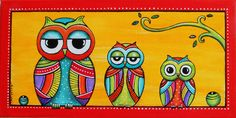 "Tableau de famille de la petite chouette ""Lulu"" : Peintures par sylphide Madhubani Art, Madhubani Painting, Indian Art Paintings, Animal Paintings, Simple Car Drawing, Rajasthani Art, Art Fantaisiste, Wal Art, Creative Arts And Crafts"