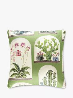 Sanderson Terrariums Cushion, Botanical Green at John Lewis & Partners Sanderson Fabric, Shell Station, Collection Services, Cushion Filling, Home Collections, Cactus Plants, Slipcovers, Orchids, Orchid Flowers