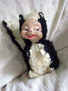 Vintage 1940s 1950s Rushton SKUNK Stuffed Animal with Rubber Face