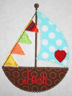 Love Boat Sailboat Valentine Machine Embroidery by AppliqueBebe