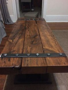 Coffee Table barn beam by CraftedUnderground on Etsy Rustic Wood Furniture, Industrial Design Furniture, Woodworking Furniture, Metal Furniture, Pallet Furniture, Furniture Projects, Furniture Design, Wood Wood, Furniture Buyers