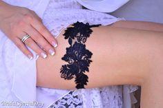Bridal Garter Dark Blue Garter Wedding Garter by BridalSpecialDay