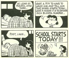 From How Long, Great Pumpkin, How Long? - A Peanuts Parade Book - First Day of School Snoopy Comics, Snoopy Cartoon, Peanuts Cartoon, Cute Comics, Peanuts Gang, Peanuts Comics, Lucy Van Pelt, Snoopy School, Charlie Brown And Snoopy