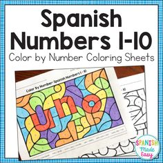 This is a Color by Number activity for practicing numbers 1-10 in Spanish. Included are 10 different coloring sheets that each reveal a different number word in Spanish. Only six colors are needed: rojo, anaranjado, amarillo, verde, azul, and violeta (red, orange, yellow, green, blue, and violet). This is a fun coloring activity when reviewing Spanish numbers 1-10 and colors.