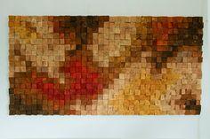 Pared de madera rústica grande arte, escultura de madera de la pared, pintura abstracta en madera